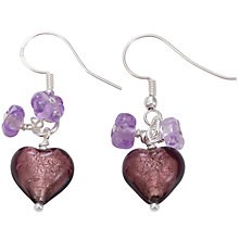 Buy Martick Plum Murano Glass Heart Cluster Drop Earrings Online at johnlewis.com