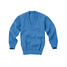 Buy Plain Unisex School V-Neck Jumper, Capstan Blue Online at johnlewis.com