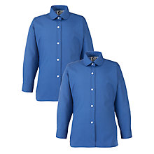 Buy Girls' School Long Sleeve Peter Pan Collar Blouse, Pack of 2, Royal Blue Online at johnlewis.com