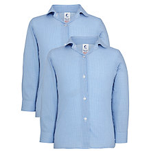 Buy Girls' School Long Sleeve Checked Blouse, Pack of 2, Blue/White Online at johnlewis.com
