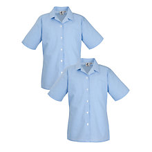 Buy Girls' School Short Sleeve Checked Blouse, Pack of 2, Blue/White Online at johnlewis.com