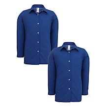 Buy Girls' School Long Sleeve Blouse, Pack of 2, Royal Blue Online at johnlewis.com