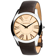 Buy Emporio Armani AR2041 Men's Round Cream Dial Brown Leather Strap Watch Online at johnlewis.com