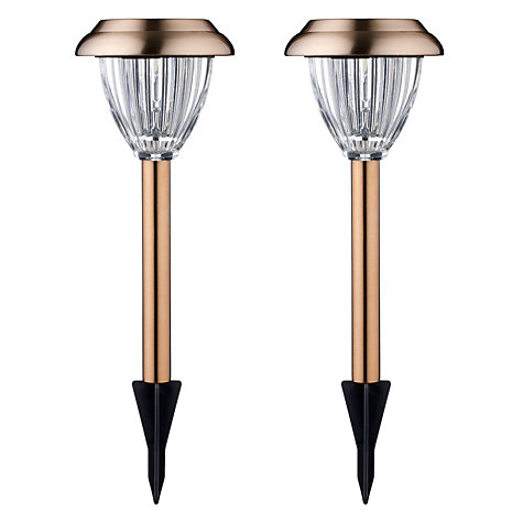 Buy John Lewis Bahia Solar Outdoor LED Stake Lights, Copper, Set of 2 Online at johnlewis.com