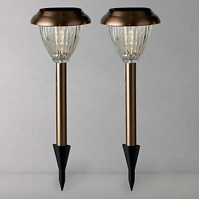 John Lewis Bahia Solar Outdoor LED Stake Lights, Copper, Set of 2