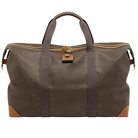 Buy Mulberry Scotchgrain Large Clipper Holdall, Mole/Cognac Online at johnlewis.com