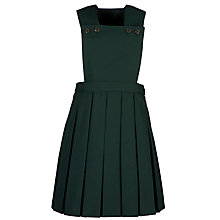 Buy Girls' School Box Pleat Pinafore, Bottle Green Online at johnlewis.com