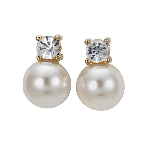 Buy John Lewis Pearl and Square Diamanté Stud Earrings Online at johnlewis.com