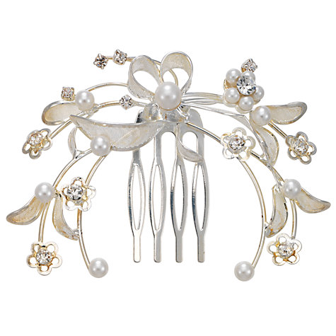 Buy John Lewis Pearl and Diamanté Petal Filigree Hair Comb Online at johnlewis.com