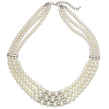 Buy John Lewis 3 Strand Pearl and Diamanté Crystal Statement Necklace Online at johnlewis.com