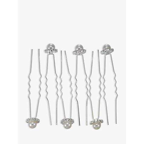 Buy John Lewis Faux Pearl and Diamante Hair Pins, Pack of 6, Silver Online at johnlewis.com