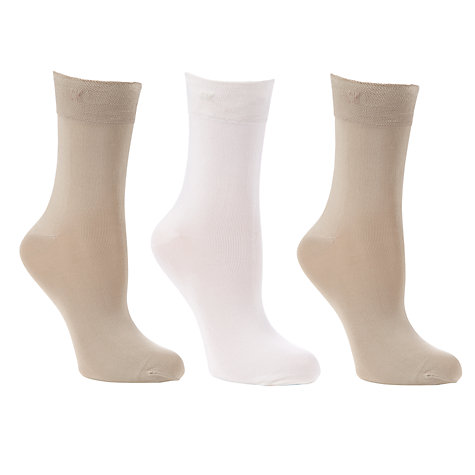 Buy Calvin Klein Light Sparkle Short Crew Socks, Pack of 3, Natural Online at johnlewis.com