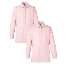 Buy Girls' School Long Sleeve Blouse, Pack of 2, Red/White Online at johnlewis.com