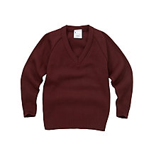 Buy School Unisex V-Neck Jumper, Maroon Online at johnlewis.com