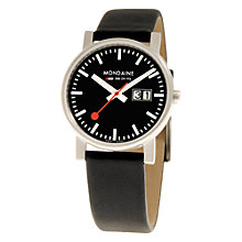 Buy Mondaine A6693030014SBB Unisex Evo Big Date Men's Analogue Black Leather Strap Watch Online at johnlewis.com