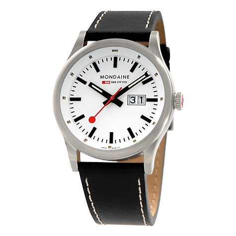 Buy Mondaine Sport Line Men's Analogue Leather Strap Watch Online at johnlewis.com