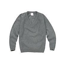 Buy Plain Unisex School V-Neck Jumper, Grey Online at johnlewis.com