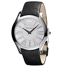 Buy Emporio Armani AR2020 Men's Round White Dial Black Leather Strap Watch Online at johnlewis.com