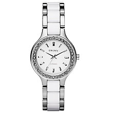 Buy DKNY NY8139 Women's Round White Dial White Ceramic and Stainless Steel Bracelet Watch Online at johnlewis.com