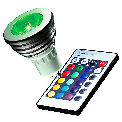Buy Auraglow 4W GU10 Spotlight LED Bulb and Remote Control, Multi Online at johnlewis.com
