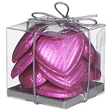 Buy Ambassadors of London Light Pink Foiled Chocolate Hearts, 50g Online at johnlewis.com