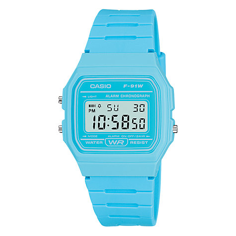 Buy Casio F-91WC-2AEF-HP Unisex Digital Square Dial Blue Plastic Strap Watch Online at johnlewis.com