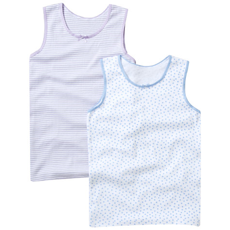 Buy John Lewis Girl Printed Camisole Vests, Pack of 2, Pink/Blue Online at johnlewis.com