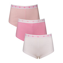 Buy John Lewis Girl Spot Waistband Shorties, Pack of 3, Pink Online at johnlewis.com
