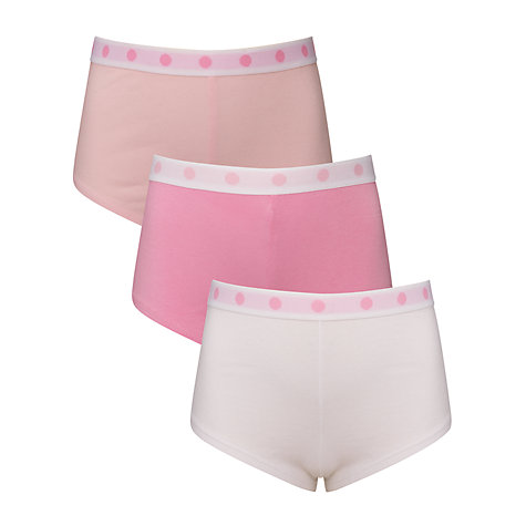 Buy John Lewis Girl Shorties, Pack of 3, Pink/White Online at johnlewis.com