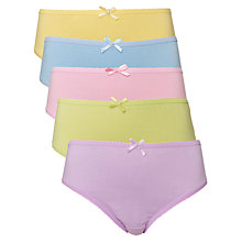 Buy John Lewis Girl Pastel Briefs, Pack of 5 Online at johnlewis.com