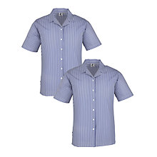 Buy Girls' School Striped Short Sleeve Open Neck Summer Blouse, Pack of 2, Navy/White Online at johnlewis.com