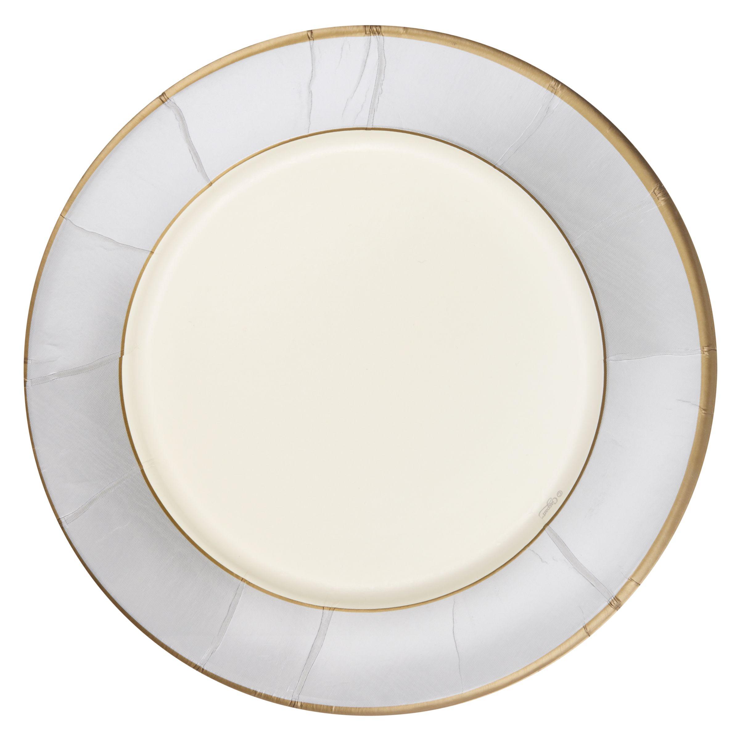 Caspari Paper Plates, Pack of 8, Silver Moire