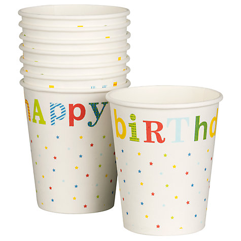 Buy John Lewis Happy Birthday Paper Cups, Pack of 8 Online at johnlewis.com