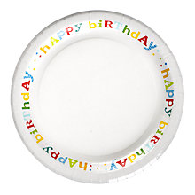 Buy John Lewis Happy Birthday Paper Plate, Dia.23cm Online at johnlewis.com