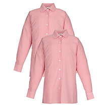 Buy School Girls' Long Sleeve Blouse, Pack of 2, Red/White Online at johnlewis.com