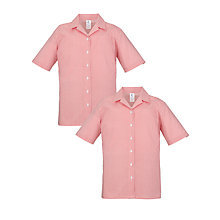 Buy School Girls' Short Sleeve Blouse, Pack of 2, Red/White Online at johnlewis.com