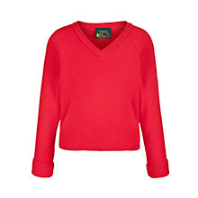 Buy Plain Unisex School V-Neck Acrylic Jumper, Red Online at johnlewis.com