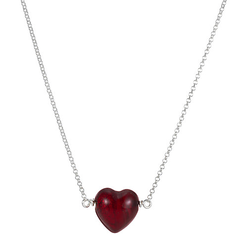 Buy Martick Cranberry Thread Through Heart Pendant Necklace Online at johnlewis.com
