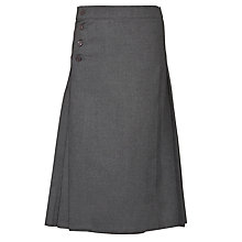 Buy Girls' Plain School Back Pleated Kilt Skirt, Grey Online at johnlewis.com