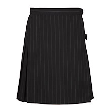 Buy Girls' Pinstripe School Kilt, Black Online at johnlewis.com