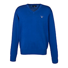 Buy Gant Solid Cotton V-Neck Jumper, Blue Online at johnlewis.com