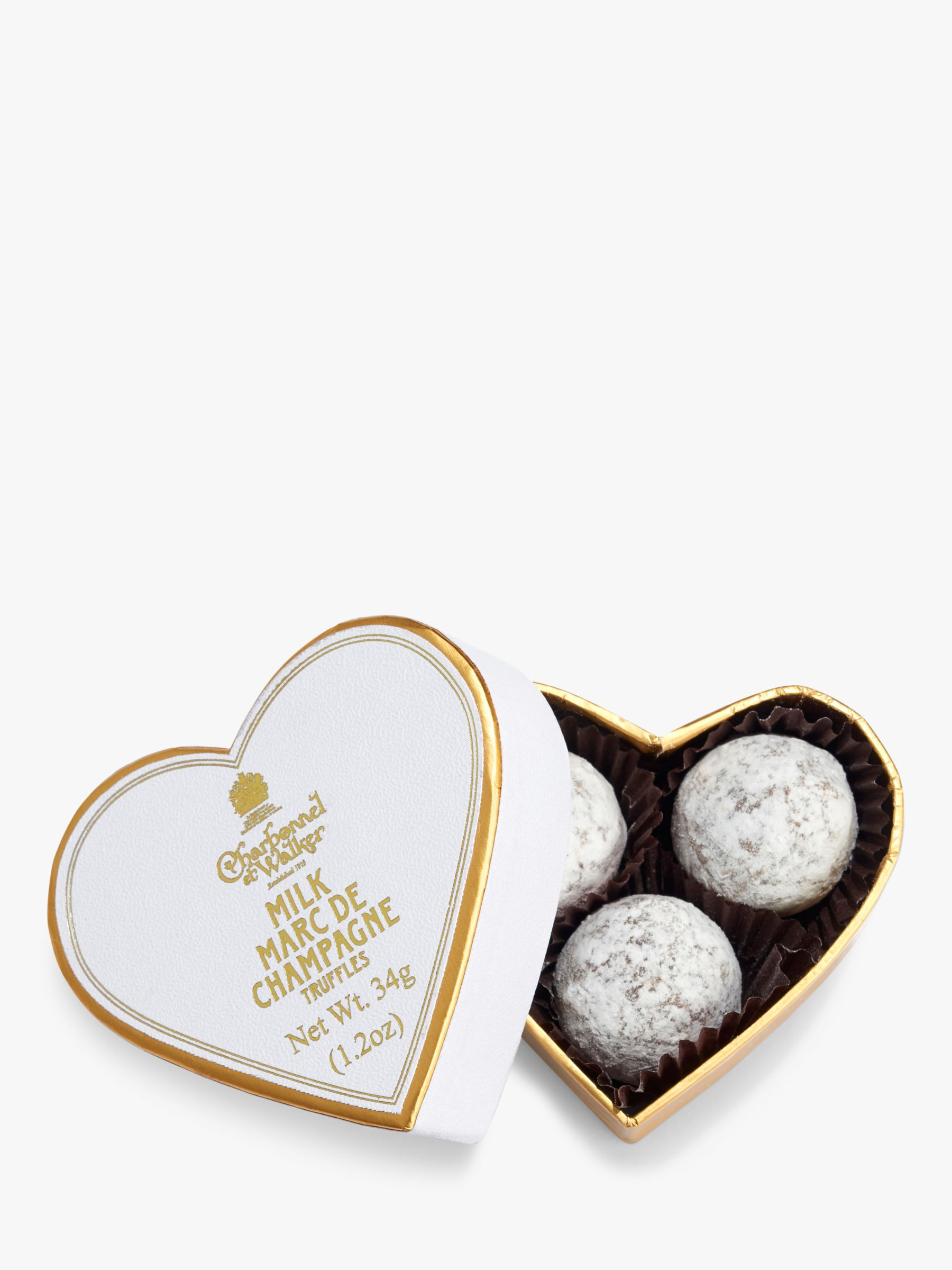 Charbonnel Et Walker Mini White Heart With Milk Chocolate Champagne Truffles, 34g