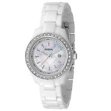 Buy Fossil ES2437 Women's Round White Mother of Pearl Dial White Bracelet Watch Online at johnlewis.com