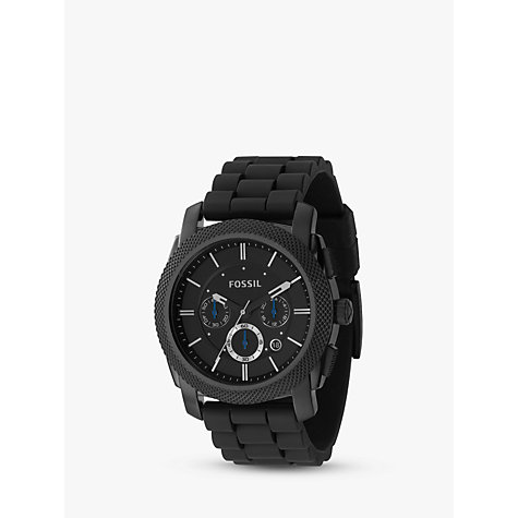 Buy Fossil FS4487 Men's Chronograph Round Black Dial Black Rubber Strap Watch Online at johnlewis.com