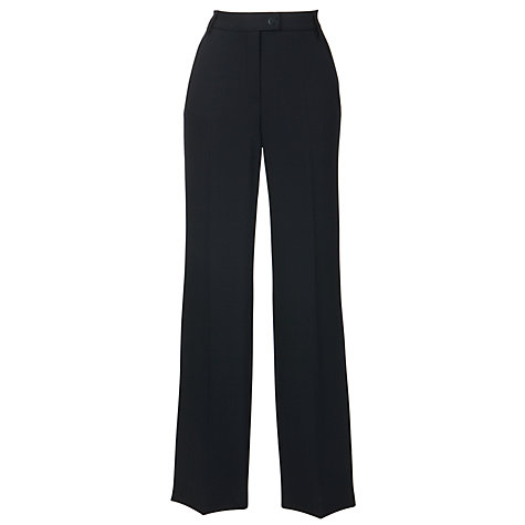Buy Gardeur Petra High Rise Straight Leg Crepe Trousers, Regular Length, Black Online at johnlewis.com