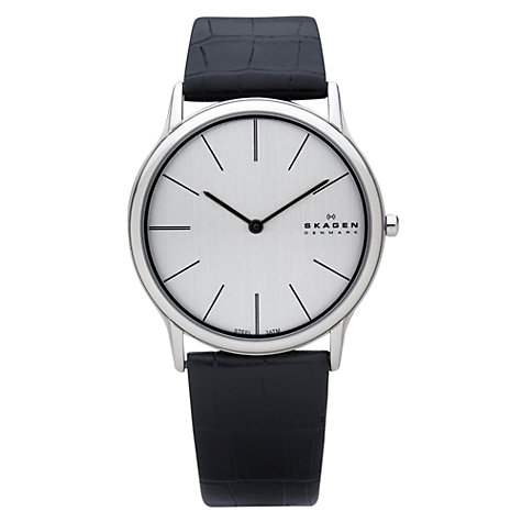 Buy Skagen 858XLSLB Men's Steel Face Leather Strap Watch Online at johnlewis.com
