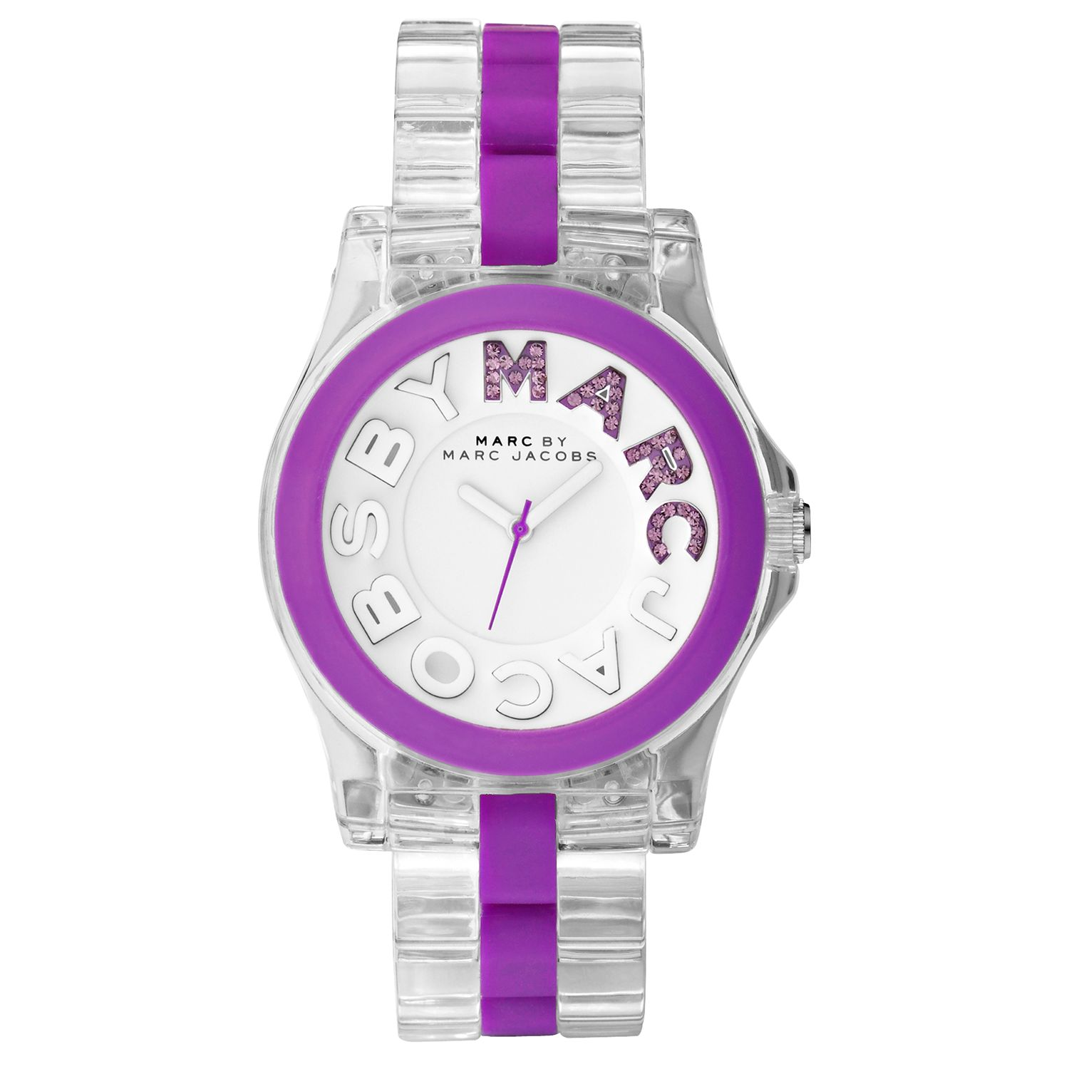 Marc by Marc Jacobs MBM4550 Women's Round White Dial Purple Bezel Clear Acrylic Bracelet Watch