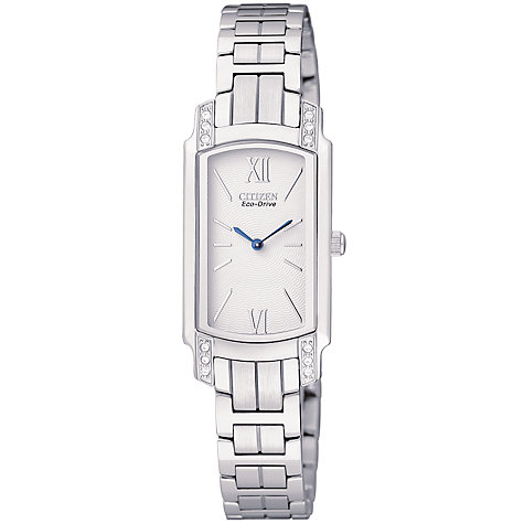 Buy Citizen Eco-Drive EG2720-51A Women's Silhouette Crystals White Rectangular Bracelet Watch Online at johnlewis.com