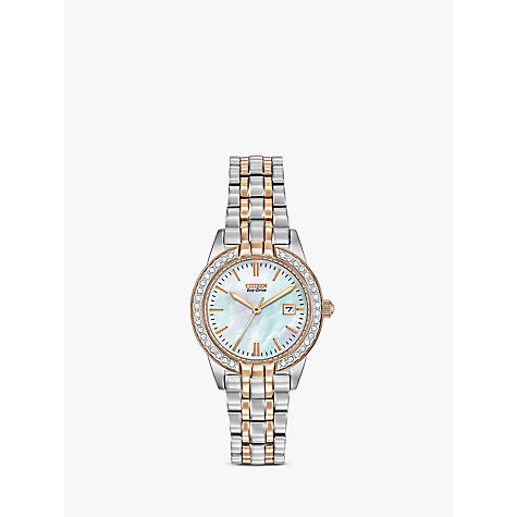 Buy Citizen Eco-Drive EW1686-59P Women's Silhouette Crystal Bracelet Strap Watch Online at johnlewis.com