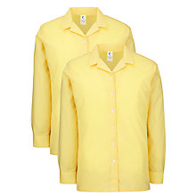 Buy Watford Girls Grammar School Long Sleeve Blouse, Pack of 2, Gold Online at johnlewis.com